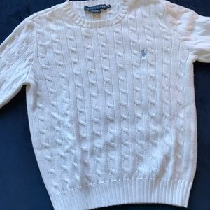 RALPH LAUREN POLO WHITE CABLE KNIT SWEATER
